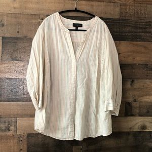 Lane Bryant Cream Striped Popover Blouse